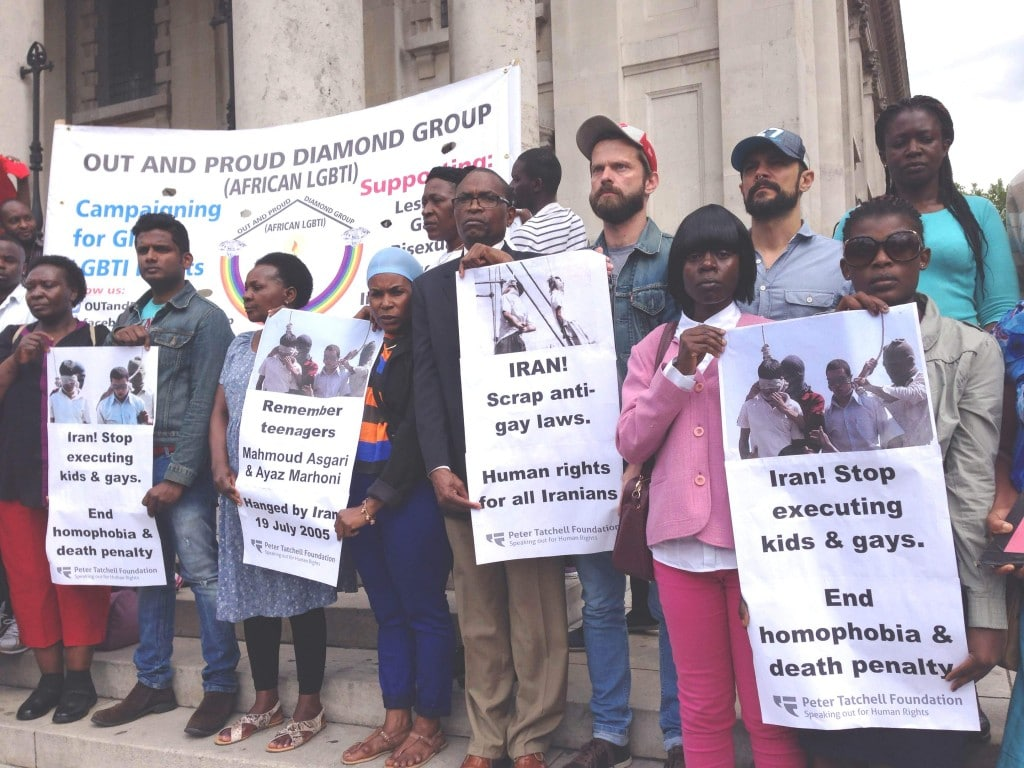 Peter Tatchell Foundation & Out and Proud Diamond Group hold London vigil for teens hanged in Iran