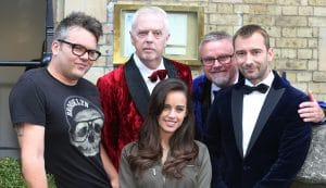 At the Rocky Horror Oxford launch; Paul Cattermole (Eddie/Dr Scott), Philip Franks (Narrator), Georgia May Foote (Columbia), Norman Pace (Narrator) and Charlie Condou (narrator)