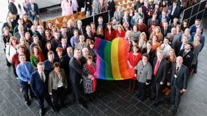 LGBTHM AM and staff flag photo (3)