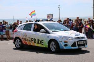 Hampshire Constabulary LAGLO car at Brighton Pride 2015 two